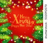 merry xmas typography card with ... | Shutterstock .eps vector #532092070