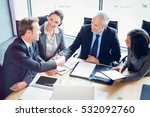 high angle view of businessmen... | Shutterstock . vector #532092760