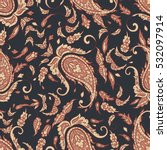 paisley seamless pattern with... | Shutterstock . vector #532097914