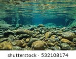Rocks Underwater On Riverbed...