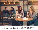 two friends enjoying coffee... | Shutterstock . vector #532113490