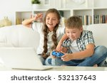 brother and sister play... | Shutterstock . vector #532137643