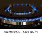 Gas Burner Is Lit On The Kitchen