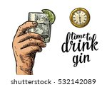 Male Hand Holding Glass Gin An...