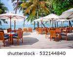cafe tables on a exotic... | Shutterstock . vector #532144840