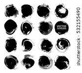 big set of black round abstract ... | Shutterstock .eps vector #532155490