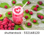 raspberry smoothie in a glass... | Shutterstock . vector #532168120