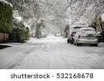 Snowing In Residential Area