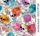 Seamless Pattern With Skull An...