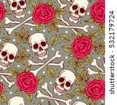 seamless pattern with skull and ... | Shutterstock .eps vector #532179724