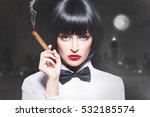 sexy mafiosi woman boss in tux... | Shutterstock . vector #532185574