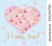 valentine vector biscuit heart... | Shutterstock .eps vector #532194700