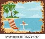 beautiful summer beach. vector...