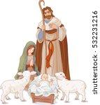 christmas nativity scene with... | Shutterstock .eps vector #532231216