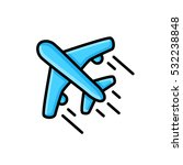 airplane blue isolated flat... | Shutterstock .eps vector #532238848
