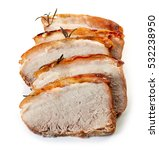 Roasted Pork Slices Isolated O...