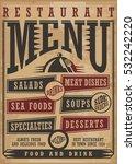 restaurant menu vintage style... | Shutterstock .eps vector #532242220