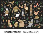 vector hand drawn cute forest... | Shutterstock .eps vector #532253614