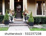 front door with a christmas... | Shutterstock . vector #532257238