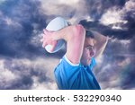 3d rugby player gesturing with... | Shutterstock . vector #532290340
