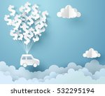 paper art of car hanging with... | Shutterstock .eps vector #532295194