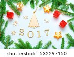 new year background with wooden ... | Shutterstock . vector #532297150