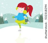 cute happy girl ice skating... | Shutterstock .eps vector #532318294