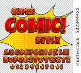 Comic alphabet set. Letters, numbers and figures for kids' illustrations websites comics banners.