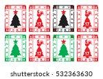 rectangular christmas stamps | Shutterstock .eps vector #532363630