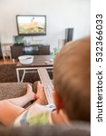 baby boy with remote controls... | Shutterstock . vector #532366033