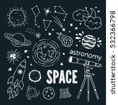 hand drawn astronomy icons.... | Shutterstock .eps vector #532366798