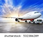 airplane on a runway | Shutterstock . vector #532386289