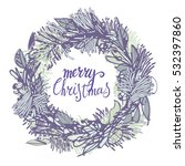 christmas wreath | Shutterstock .eps vector #532397860
