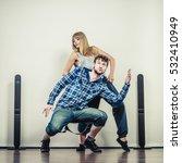 two modern dancers couple woman ... | Shutterstock . vector #532410949