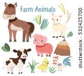 Cute Farm Animals And Plant...