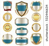 golden shields laurel wreaths... | Shutterstock .eps vector #532446634
