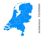 blue map of netherlands | Shutterstock .eps vector #532450060