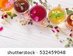 herbal tea on a white wooden... | Shutterstock . vector #532459048