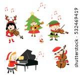 kids playing christmas music... | Shutterstock .eps vector #532469419
