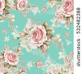 Stock photo watercolor seamless pattern roses in bud r beautiful pattern for decoration and design trendy 532482388