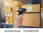 postman worker scanning package ...   Shutterstock . vector #532483534