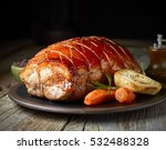 roasted pork and vegetables on... | Shutterstock . vector #532488328