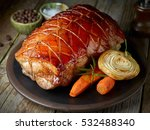 roasted pork and vegetables on... | Shutterstock . vector #532488340