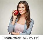 smiling woman with healthy... | Shutterstock . vector #532492144
