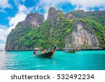 long boat and blue water at... | Shutterstock . vector #532492234
