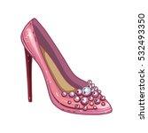Pink Shoe  Vector Illustration