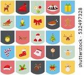 set of christmas color icons.