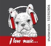 cute puppy wearing headphones.... | Shutterstock .eps vector #532502806