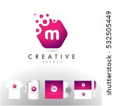 m letter logo with dots. m icon ... | Shutterstock .eps vector #532505449