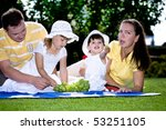 young family eating in the... | Shutterstock . vector #53251105